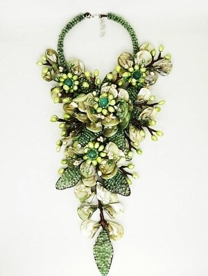 Gleaming Green Statement Necklace