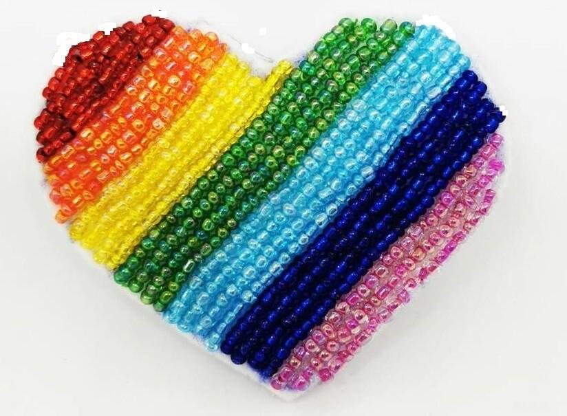 Rainbow Heart Brooch In Support of Worldwide Health Workers !