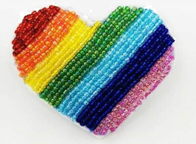 Rainbow Heart Brooch In Support of Worldwide Health Workers !