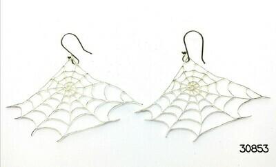 Spider Web Silver Earrings