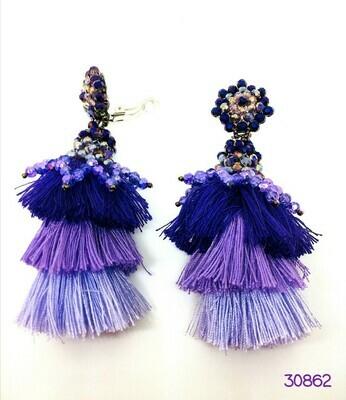 Purple Silk Tassel Earrings