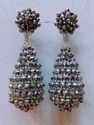 Silvery Crystal Dangle Earrings