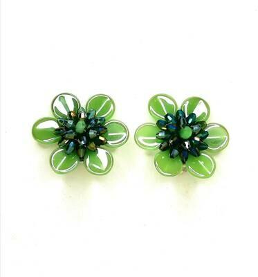 Green Gleams Button Earrings