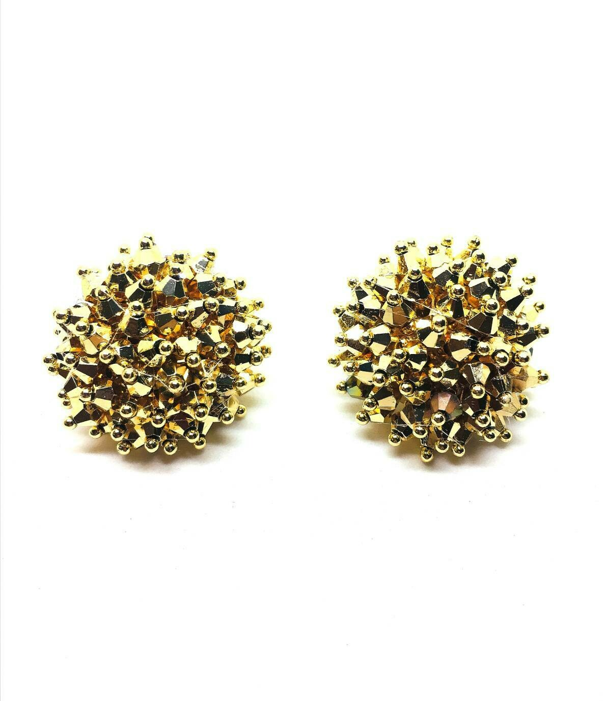 Sparkling Gold Button Earrings