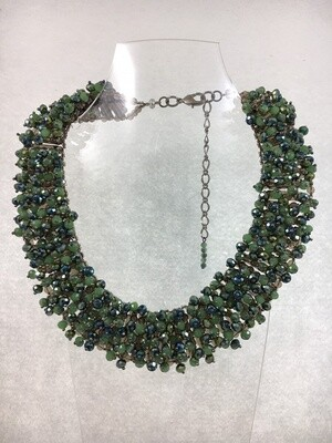Sparkling Jade Green Crystal Necklace