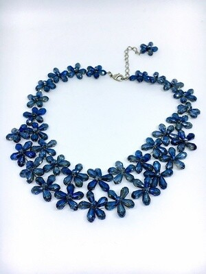 Blue Bedazzled Crystal Necklace