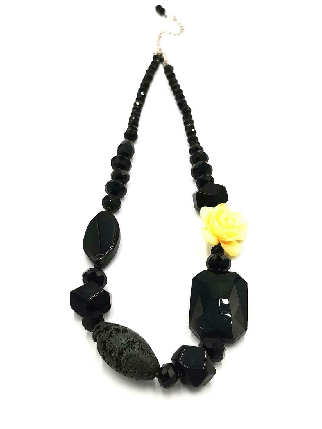 Ebony Floral Statement Necklace