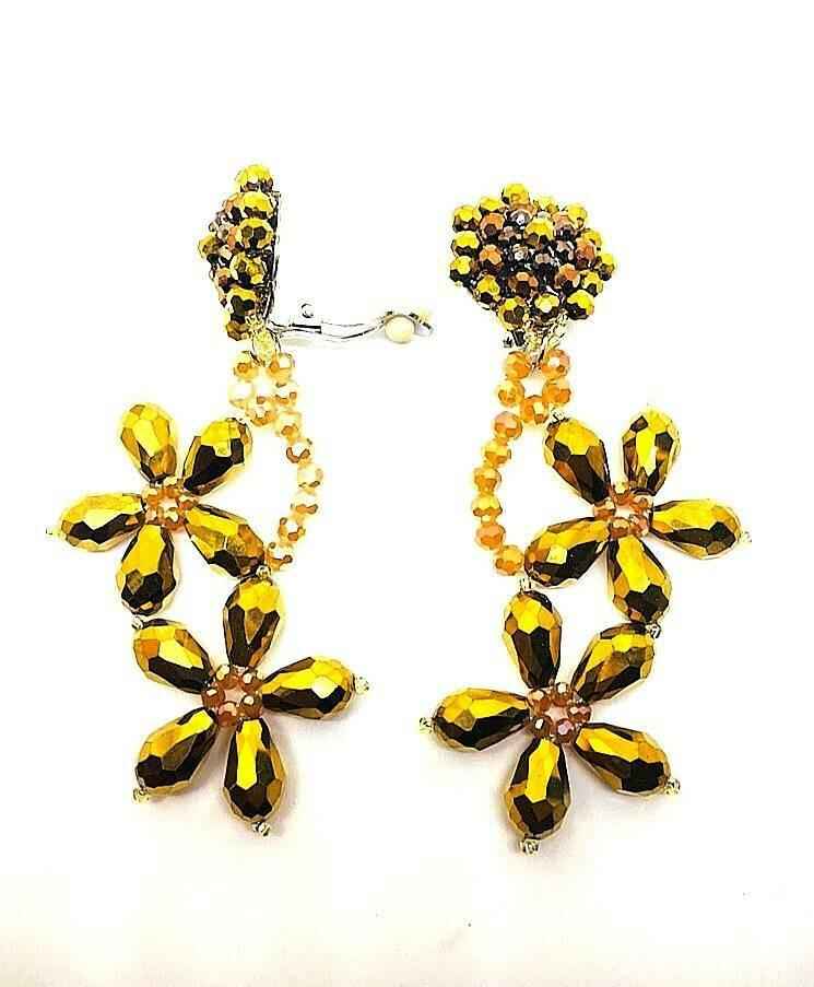 Golden Gems Clip-On Earrings