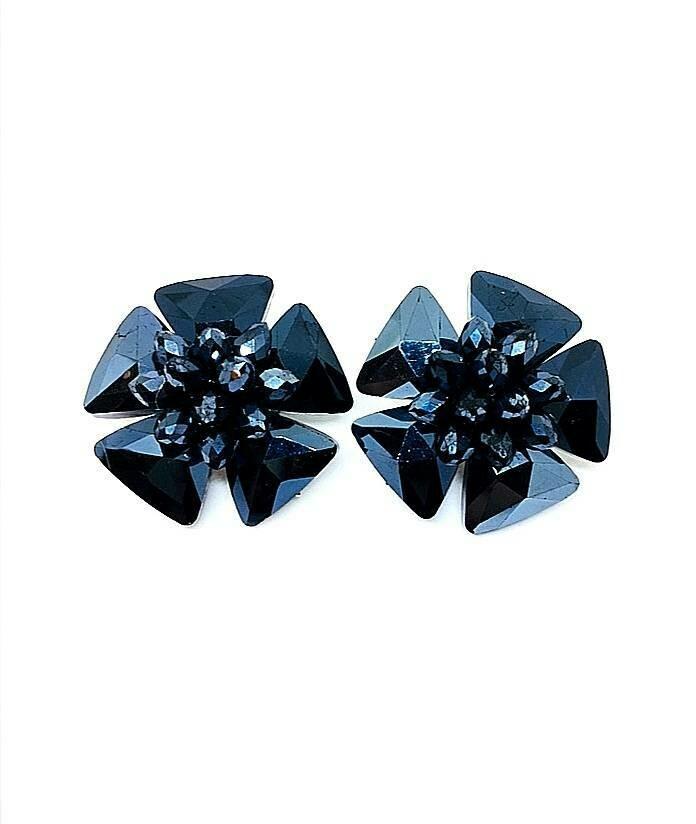 Blooming Blue Crystal Earrings