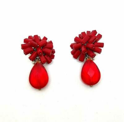 Crimson Cluster Crystal Earrings