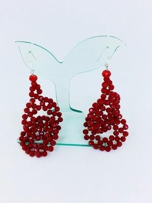 Red Swirl Crystal Earrings