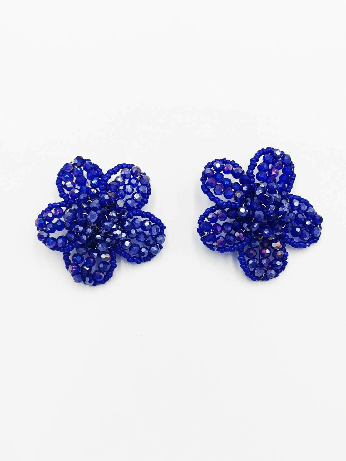 Electric Blue Floral Earrings