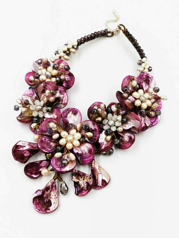 Purple Posies Statement Necklace