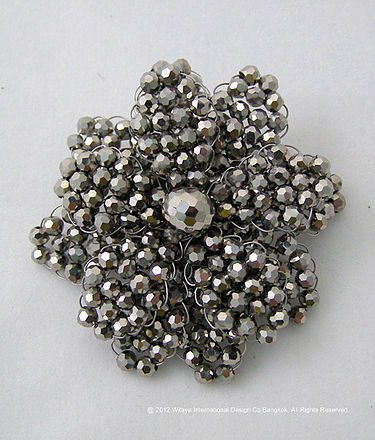 Gorgeous Metallic Silver Crystal Brooch