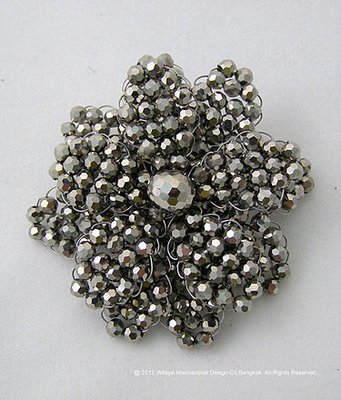 Gorgeous Metallic Silver Crystal Brooch