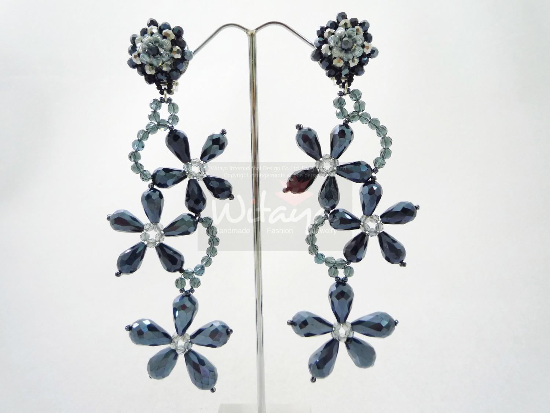 Gia Black Beaded Statement Earrings