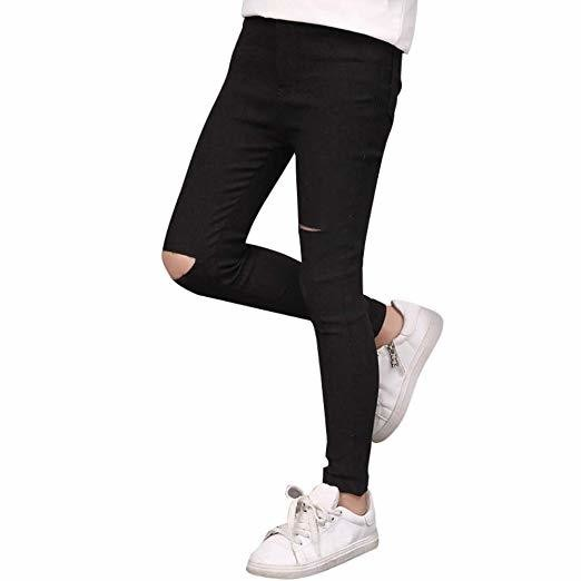 Loveble Black Ripped Jeans for Girls Skinny Soft Trousers Full Length for 3-13 Girls