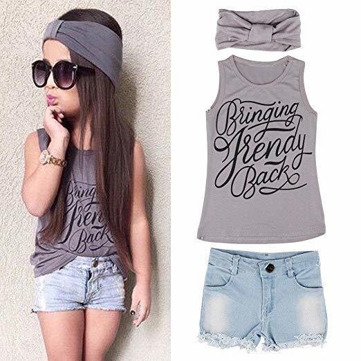 Muxika Summer Lovely Kid Girls Vest Top + Jeans Shorts+Headband Suit