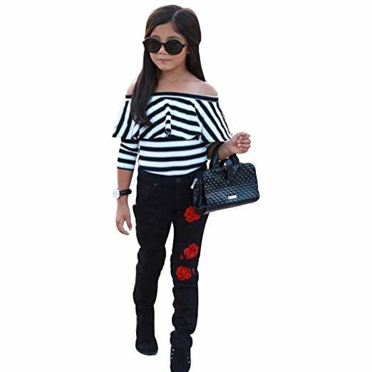 Moonker Kids Toddle Baby Girl Off Shoulder Stripe T Shirt Tops Floral Pants Outfits Clothes Set