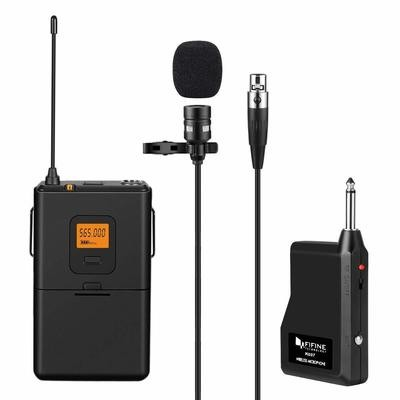 Fifine 20-Channel UHF Wireless Lavalier Lapel Microphone System with Bodypack Transmitter, Mini XLR Female Lapel Mic and Portable Receiver, 1/4 Inch Output.