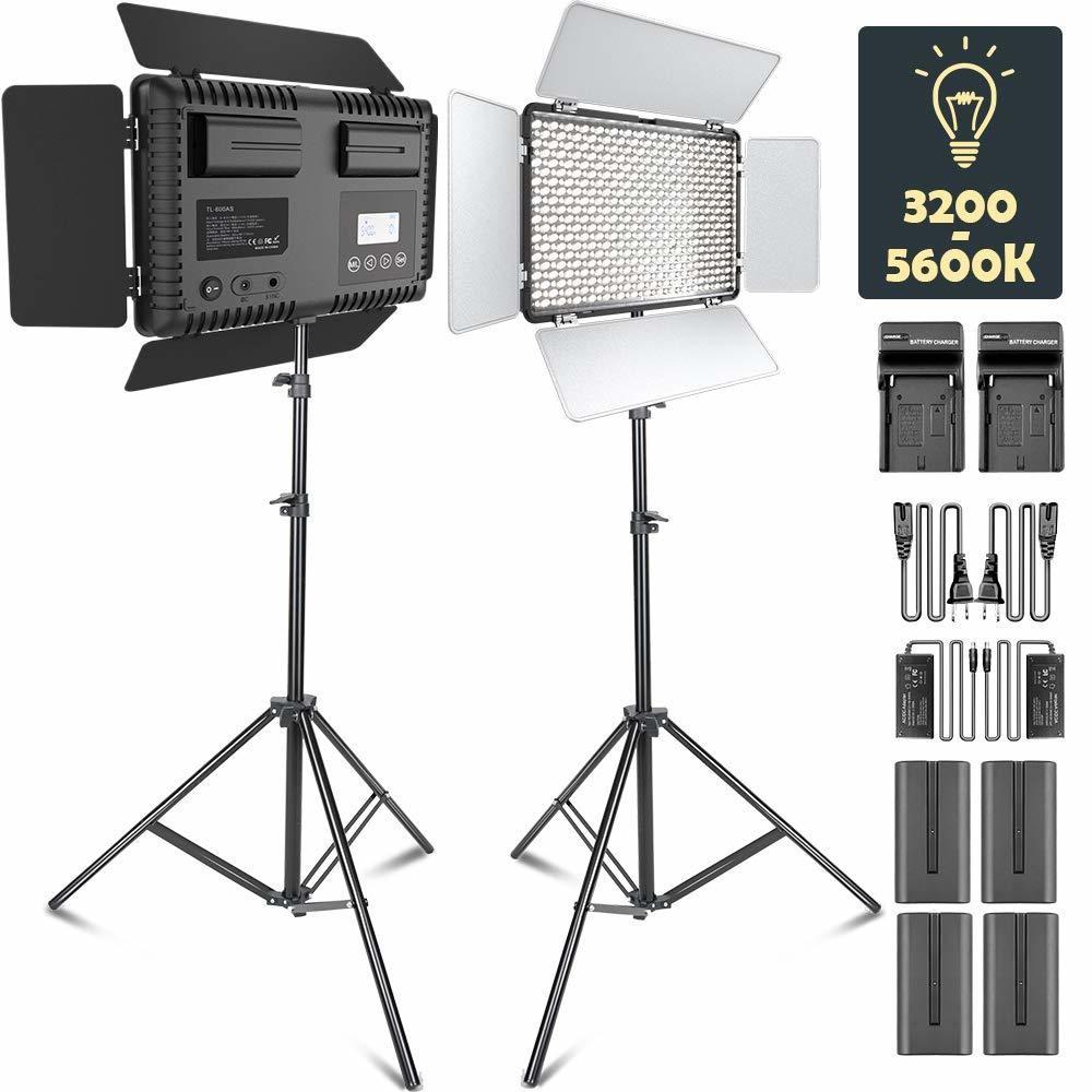 LED Video Light, SAMTIAN Dimmable Bi-Color 600 LED Studio Lights Lighting Kit: 3200K-5600K LED Panel Light with Barndoor, 2M Light Stan