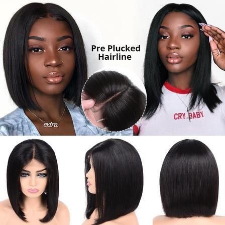 2019 Short Lace Front Wigs Brazilian Straight Bob Wigs Pre Plucked Hairline Natural Wigs