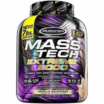 MuscleTech Mass Tech Extreme Weight Gainer Protein Powder, Vanilla, 7lbs