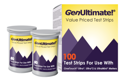 GenUltimate!® 100 Count Blood Glucose Test Strips: Accurate Blood Glucose Test Strips For Use With OneTouch Ultra, Ultra2, and UltraMini Meters.