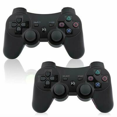PS3 Wireless Controller 2 Pack Sixaxis Double Shock Bluetooth Gaming Controller for Sony Playstation 3 w/Charging Cord (PS3 Controller 2 Pack, Whole Black)
