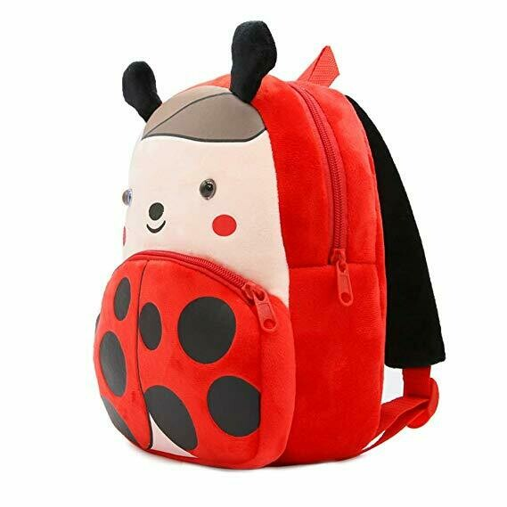 3D Cute Cartoon Little Plush Baby Backpack Baby Toy Bag(Ladybug)