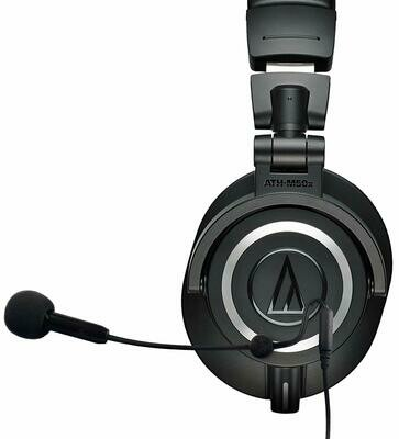 Audio-Technica ATH-M50x Professional Studio Headphones Bundle with Antlion Audio ModMic 5 Attachable Microphone, and Blucoil Y Splitter for Audio, Mic