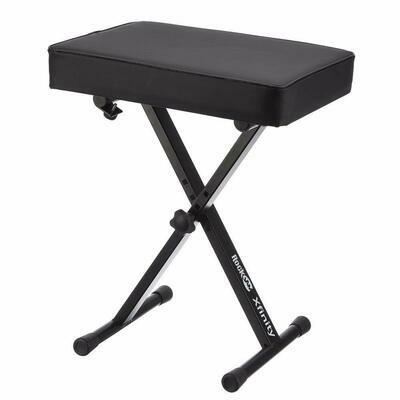 RockJam KB100 Adjustable Padded Keyboard Bench, X-Style, Black