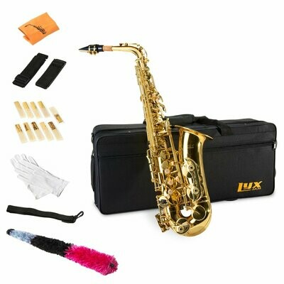 LyxJam Alto Saxophone E Flat Brass Sax Beginners Kit, Mouthpiece, Neck Strap, Cleaning Cloth Rod, Gloves, Hard Carrying Case w Removable Straps,...