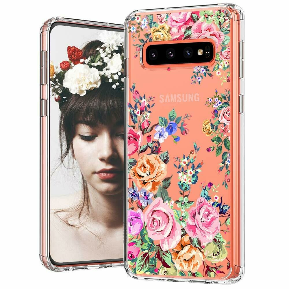 MOSNOVO Galaxy S10 Plus Case, Roses Garden Floral Printed Flower Pattern Clear Design Transparent Plastic Hard Back Case with TPU Bumper Protective Case Cover for Samsung Galaxy S10 Plus