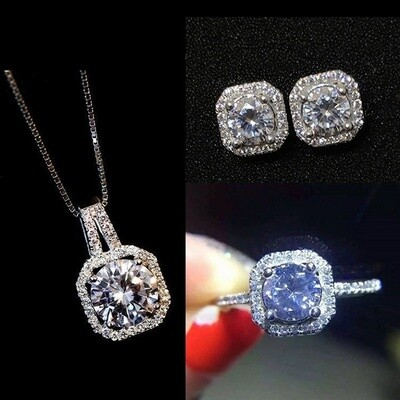 1 PCS S925 Zircon Square Diamond Necklace, Women's Short Collarbone Pendant Jewelry Sets (Ring + Necklace + Earrings)