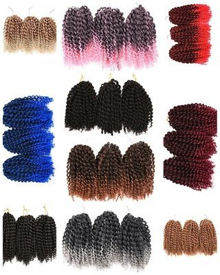 3 Bundles/pack Marlybob Kinky Curl (2#) 8'' Synthetic Crochet Braids Hair Extention