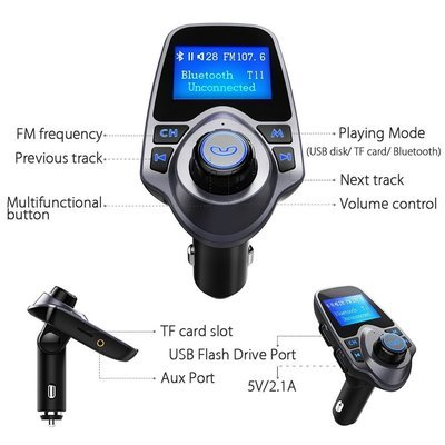 VicTsing Wireless In-Car Bluetooth FM Transmitter Car Kit Radio Adapter With 5V 2.1A USB Car Charger MP3 Player Read Micro SD Card and USB Flash Drive