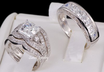 14k White Gold 925 Sterling Silver Wedding Band Engagement Ring Set