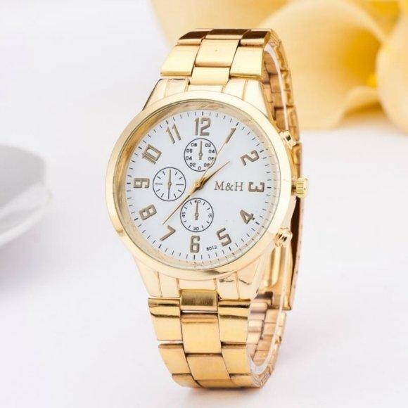 Gold Luxury Montre Homme Casual Quartz Watch men wrist