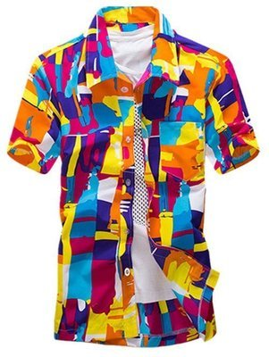 Color Block Summer Button Down Hawaiian Shirt