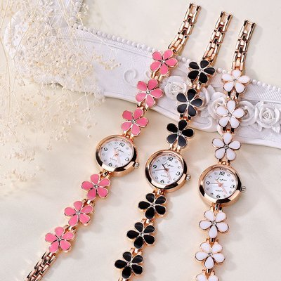 Elegant Women Plum Blossom Band Analog Quartz Wrist Watch Bracelet