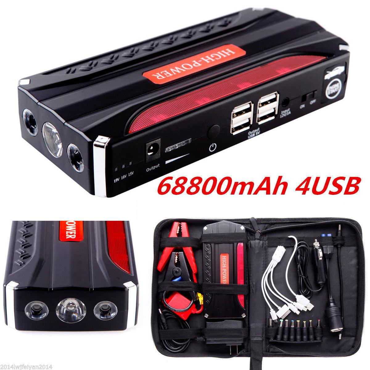 68800mAh Portable Car Jump Starter Pack Booster Battery Charger 4 USB Power Bank
