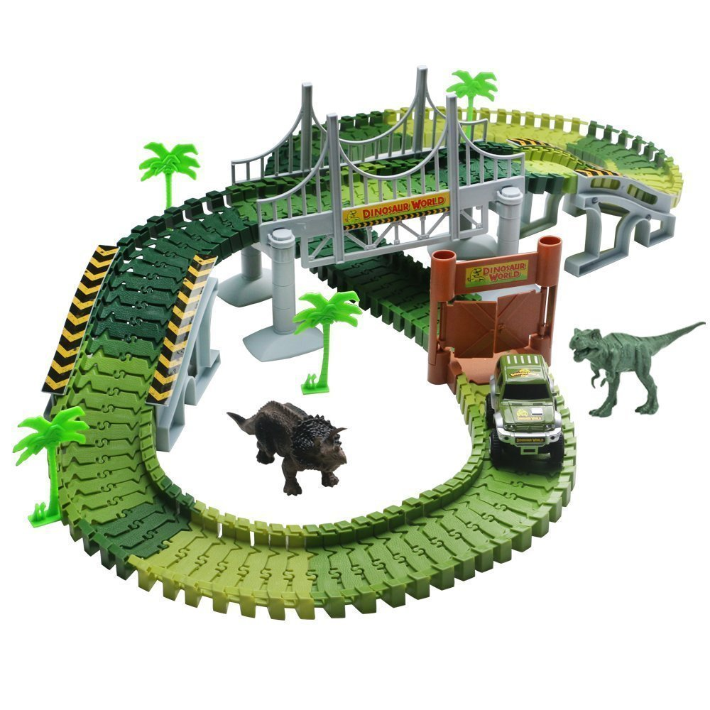 Lydaz Race Track Dinosaur World Bridge Create A Road 142 Piece Toy Car
