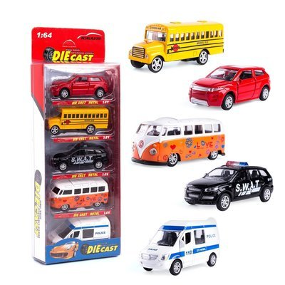 Toy Cars Set of 5, Openable Doors Pull Back Car Gift Pack for Kids