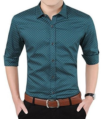 YTD Mens 100% Cotton Casual Slim Fit Long Sleeve Button Down Printed Dress S