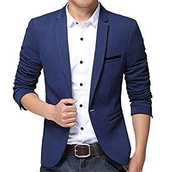 Pishon Men's Slim Fit Suits Casual One Button Flap Pockets