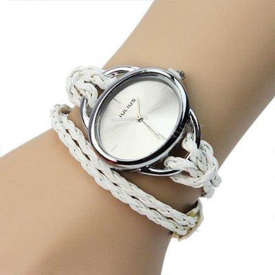 5  Ladys  Bracelet Charm Leather Weave Quartz Movement Wrist Watch