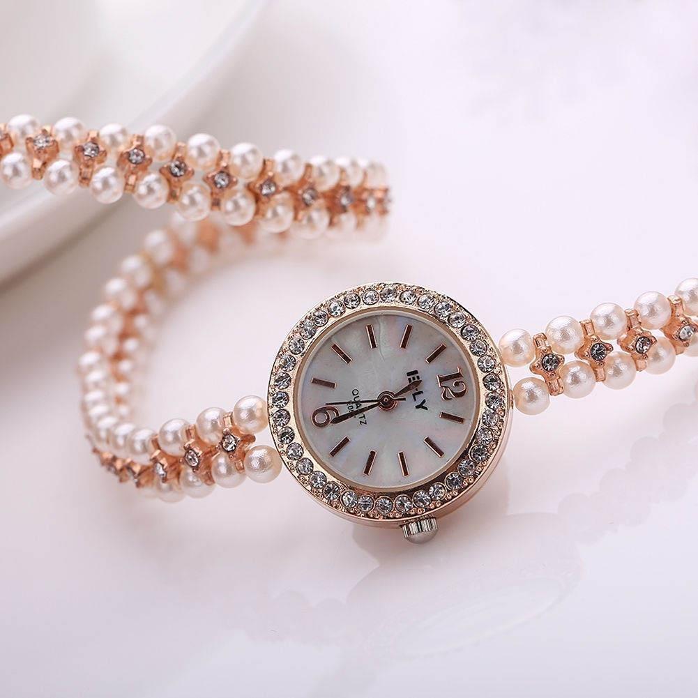5  Women Faux Pearl Bracelet Wrist Analog Quartz Crystal Rhinestone