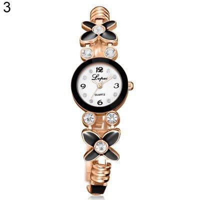 5 Women's Flower Rhinestone Bracelet Bangle Analog Quartz Wrist Watch