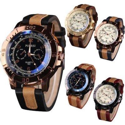 5 Luxurys Retro Men's Watches Faux Leather Analog Quartz Sport Casual